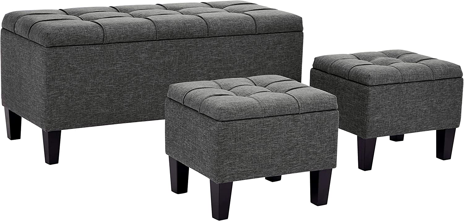 First Hill Bergen 3-Piece Storage Ottoman Bench Set with Fabric Upholstery