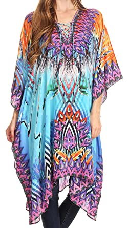699e2ccdccd45 Sakkas P2 - Kristy Long Tall Lightweight Caftan Dress/Cover Up with V-Neck