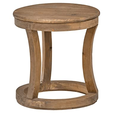 Stone & Beam Modern Rustic Reclaimed Elm Round Accent Side End Table, 16.9 W, Natural