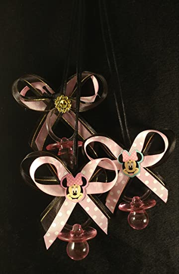Baby Minnie Mouse Baby Shower Ribbon Bow Pacifier Necklace (12)