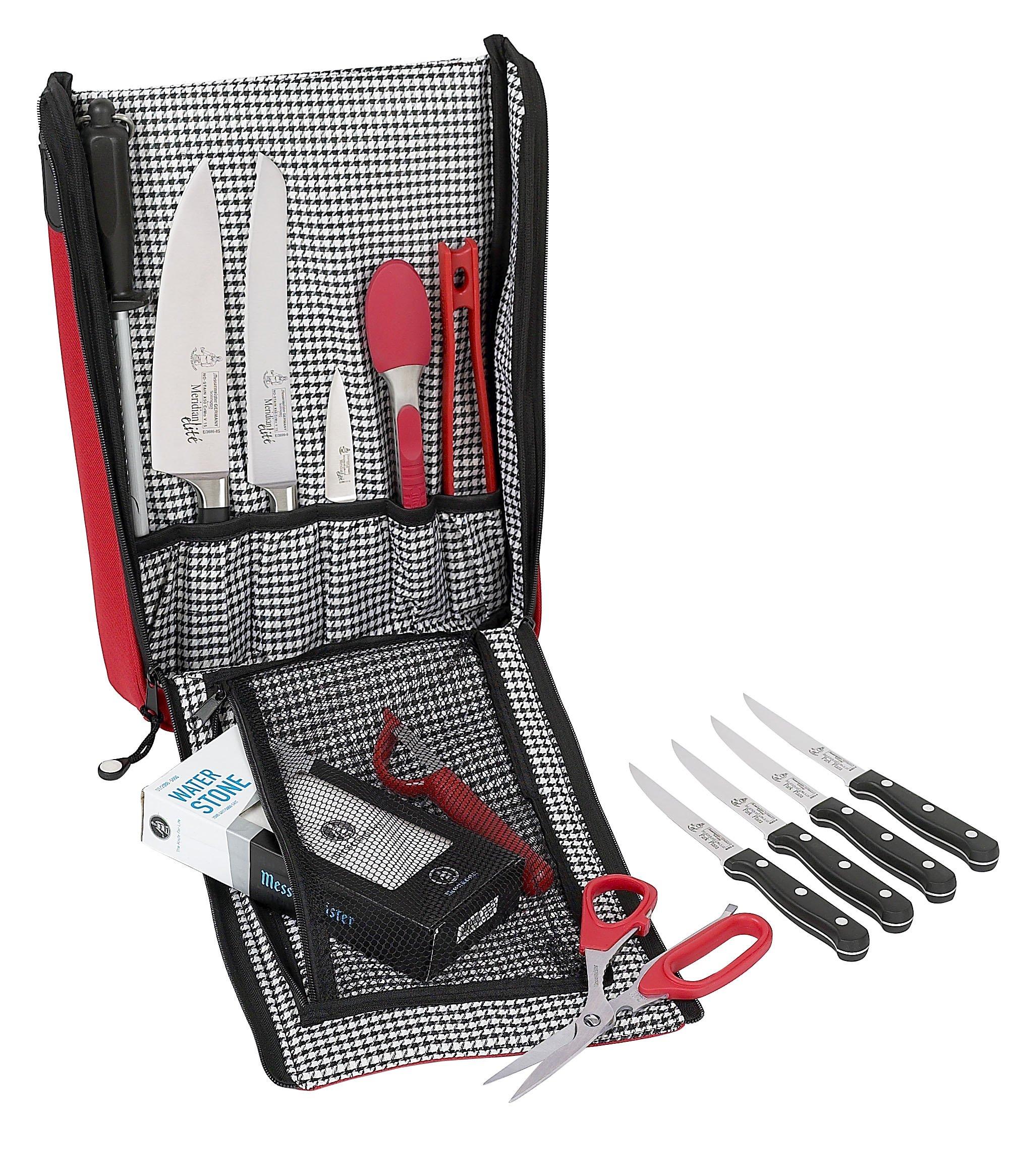 Messermeister 6-Pocket Messenger Knife Bag, Red