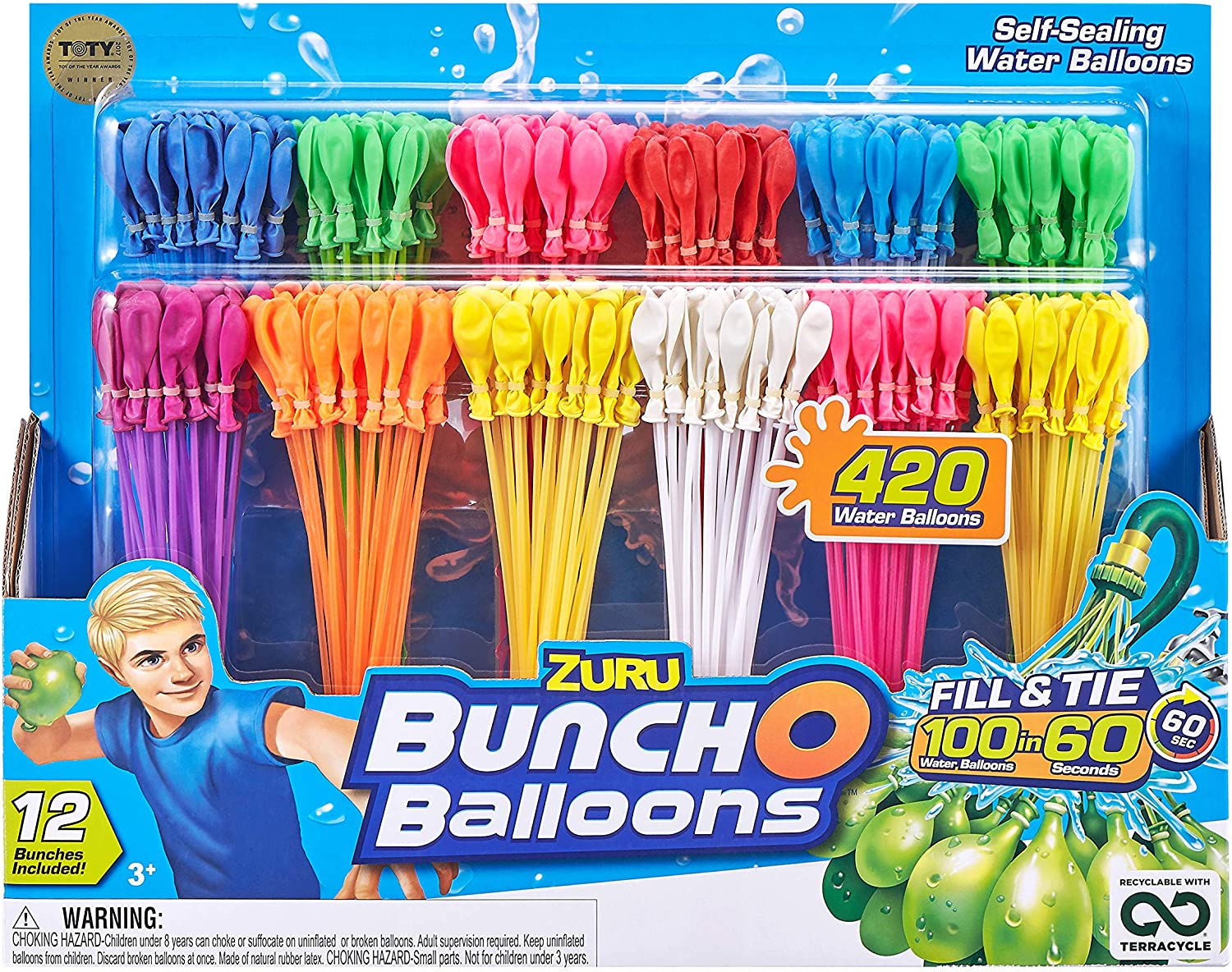 Instant 440 Self-Sealing Water Balloons 12 Packs Fill in 60 Seconds 440 Balloons Easy Quick Summer Splash Fun Outdoor Backyard Kids and Adults Party Water Bomb Fight Games km990