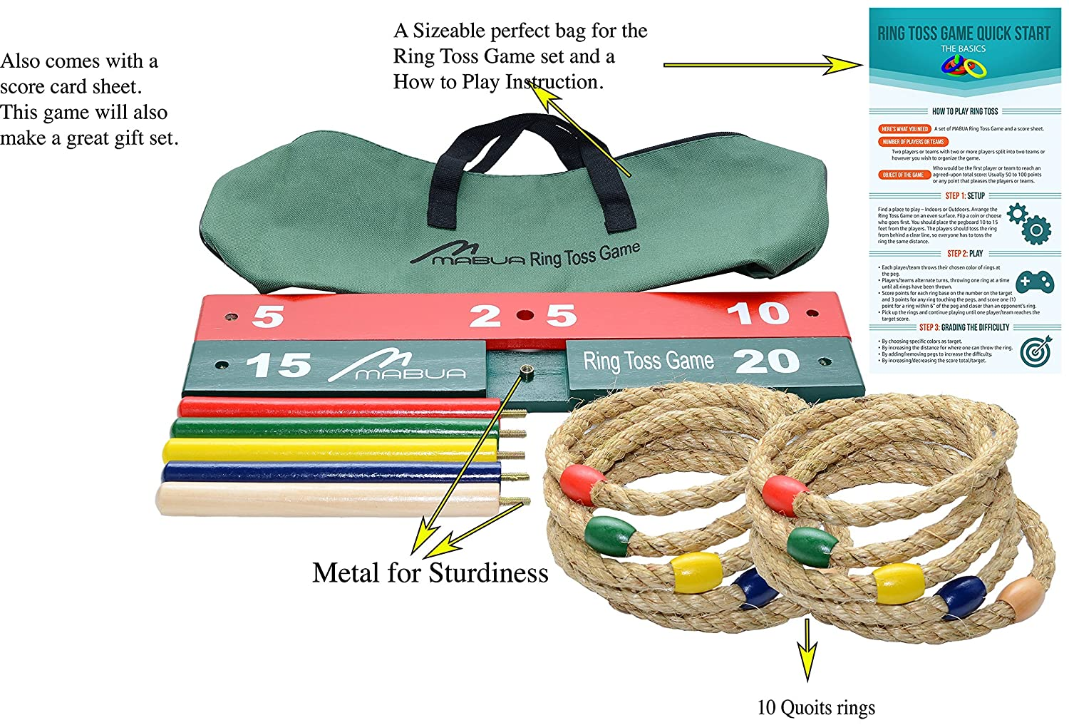 Ring toss games for kids - Mabua Ring Toss Outdoor Games Kids Adults With 10 Quoits Carry Bag Toys For 5 Year Old Boys Girls Also Available 10 Quoits And 15 Plastic Ropes Sports