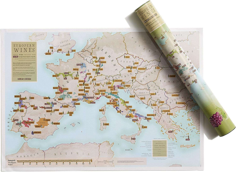Lámina de vino europea Scratch Off – Mapas Internacionales – Póster de regalo para amantes del vino – Regiones + subregiones – tubo de regalo – tamaño a2 59,4 x 42 cm