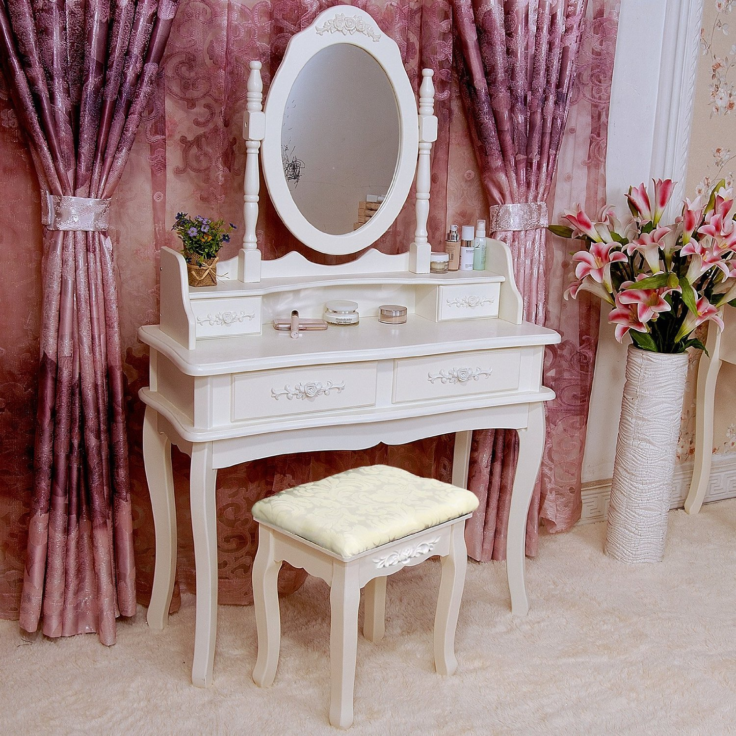 Amazon.com: Tribesigns Makeup Vanity Table Set Bedroom Dressing Table With  Stool And Mirror (1 Mirror + 4 Drawer): Kitchen U0026 Dining