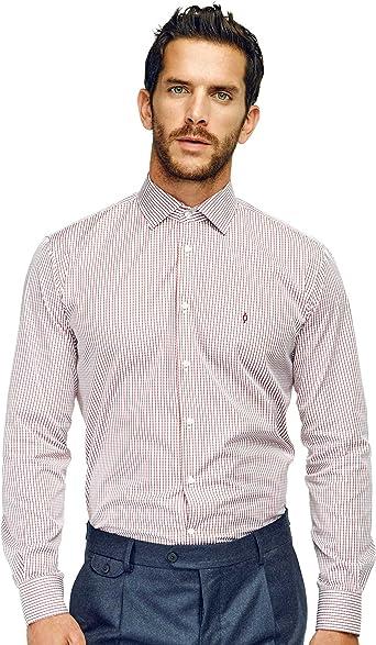 Caramelo, Camisa Regular Cuello Italiano, Hombre · Rojo Intenso, Talla 58: Amazon.es: Ropa y accesorios