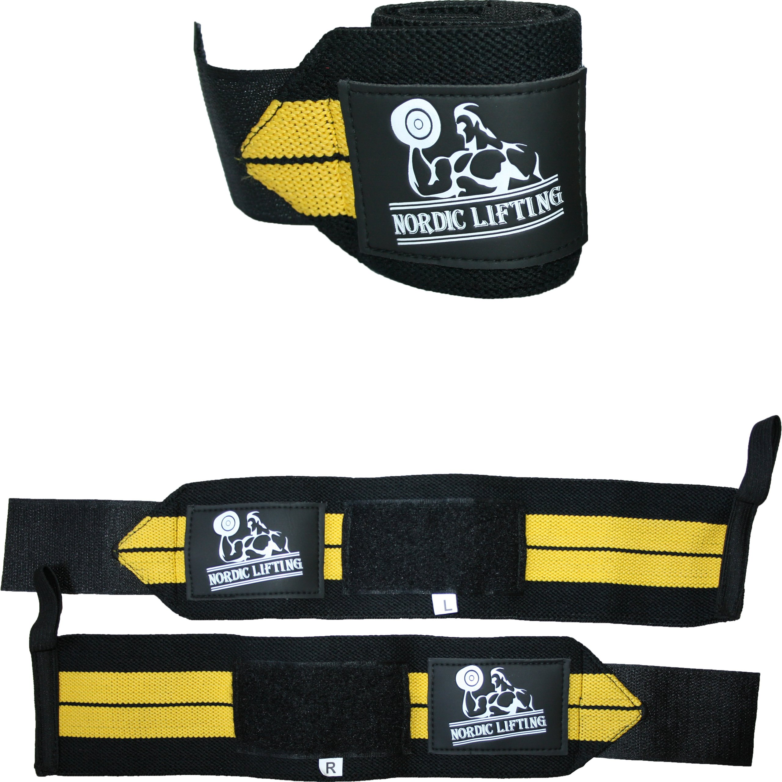 Wrist Wraps (1 Pair/2 Wraps) for Weightlifting/Cross Training/Powerlifting/Bodybuilding-Women & Men-Premium Quality Equipment & Accessories Avoid Injury During Weight Lifting-(Yellow)-1 Year Warranty