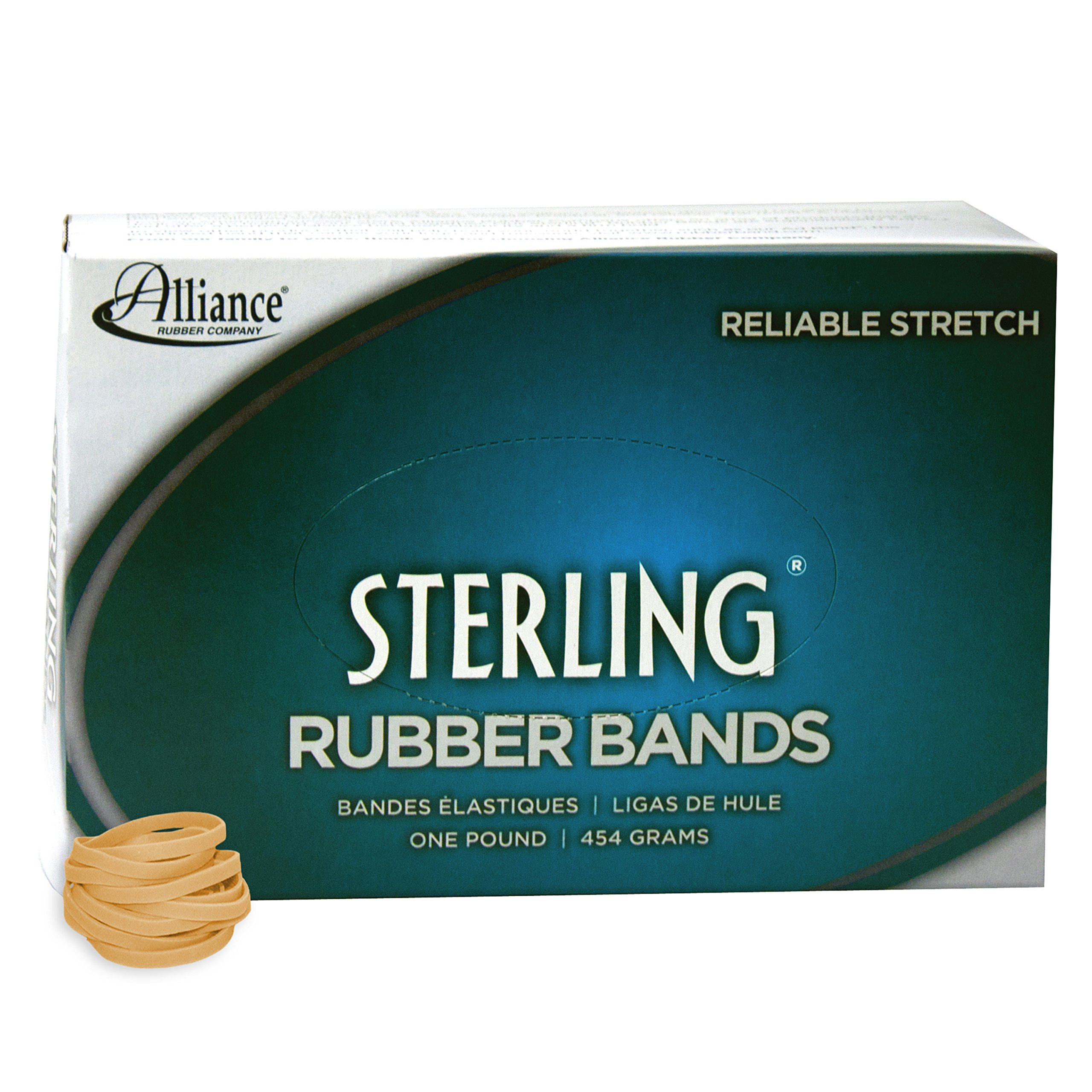 Alliance Rubber 24275 Sterling Rubber Bands Size #27, 1 lb Box Contains Approx. 2400 Bands (1 1/4'' x 1/8'', Natural Crepe)