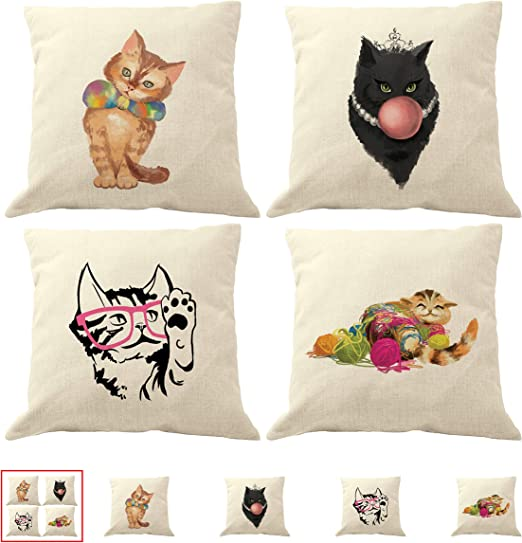 Cat Feline Paws Themed Cotton Cushion Cover Perfect Gift