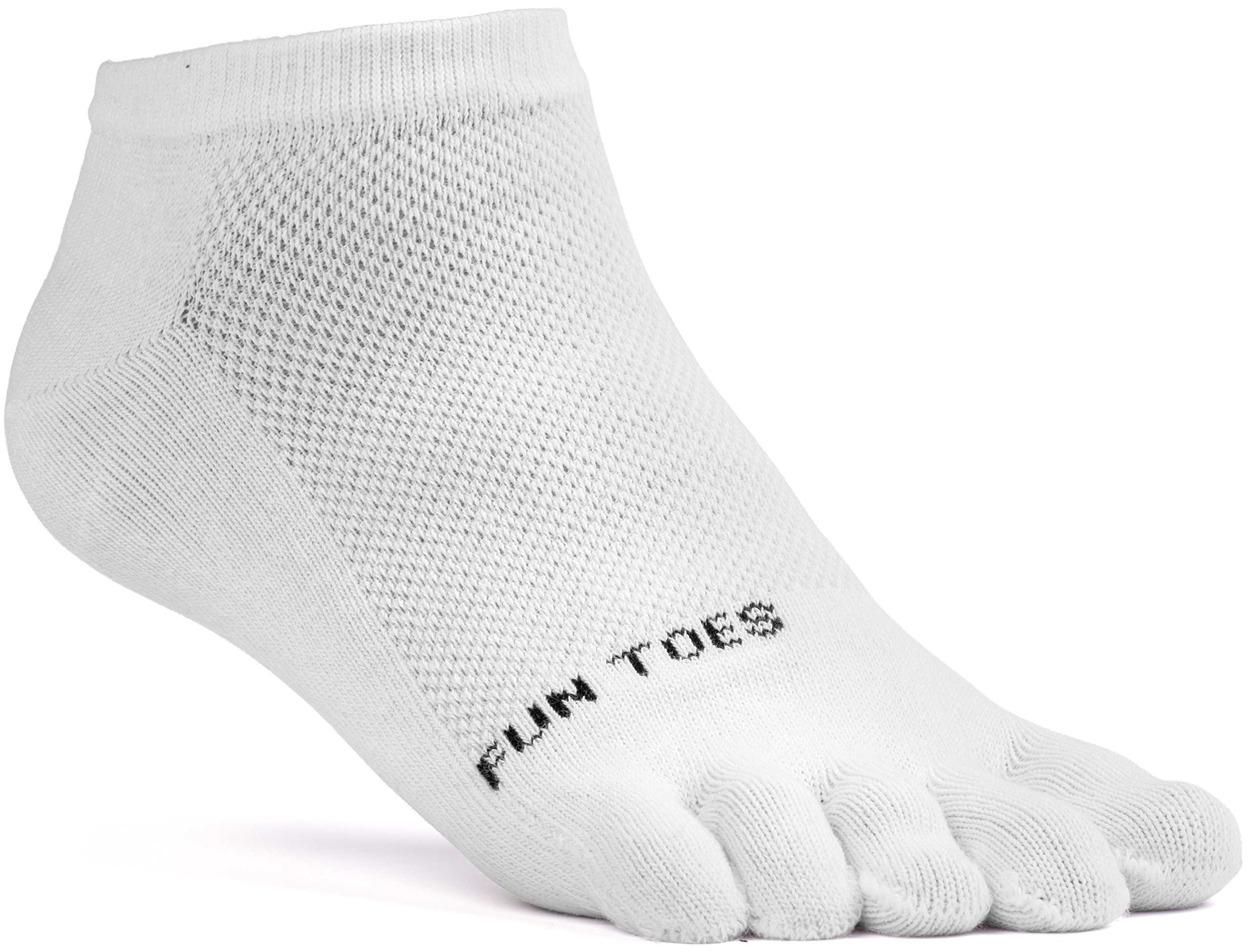 FUN TOES Women's Cotton Toe Socks Barefoot Running Socks -PACK OF 6 PAIRS- Size 9-11 -Lightweight- (White) by FUN TOES (Image #2)