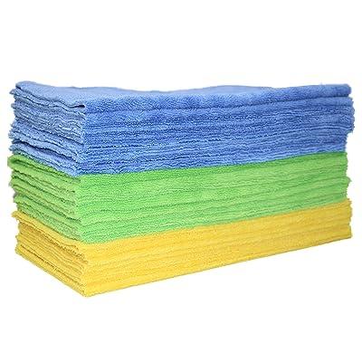 Polyte Microfiber Cleaning Towel Ultrasonic Cut Edgeless (16x16, 24 Pack, Premium, Blue,Green,Yellow): Automotive