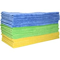Polyte - Premium schoonmaakdoek - ultrasonic cut zonder rand - 24-pack - blauw, groen, geel - 40,6 x 40,6 cm
