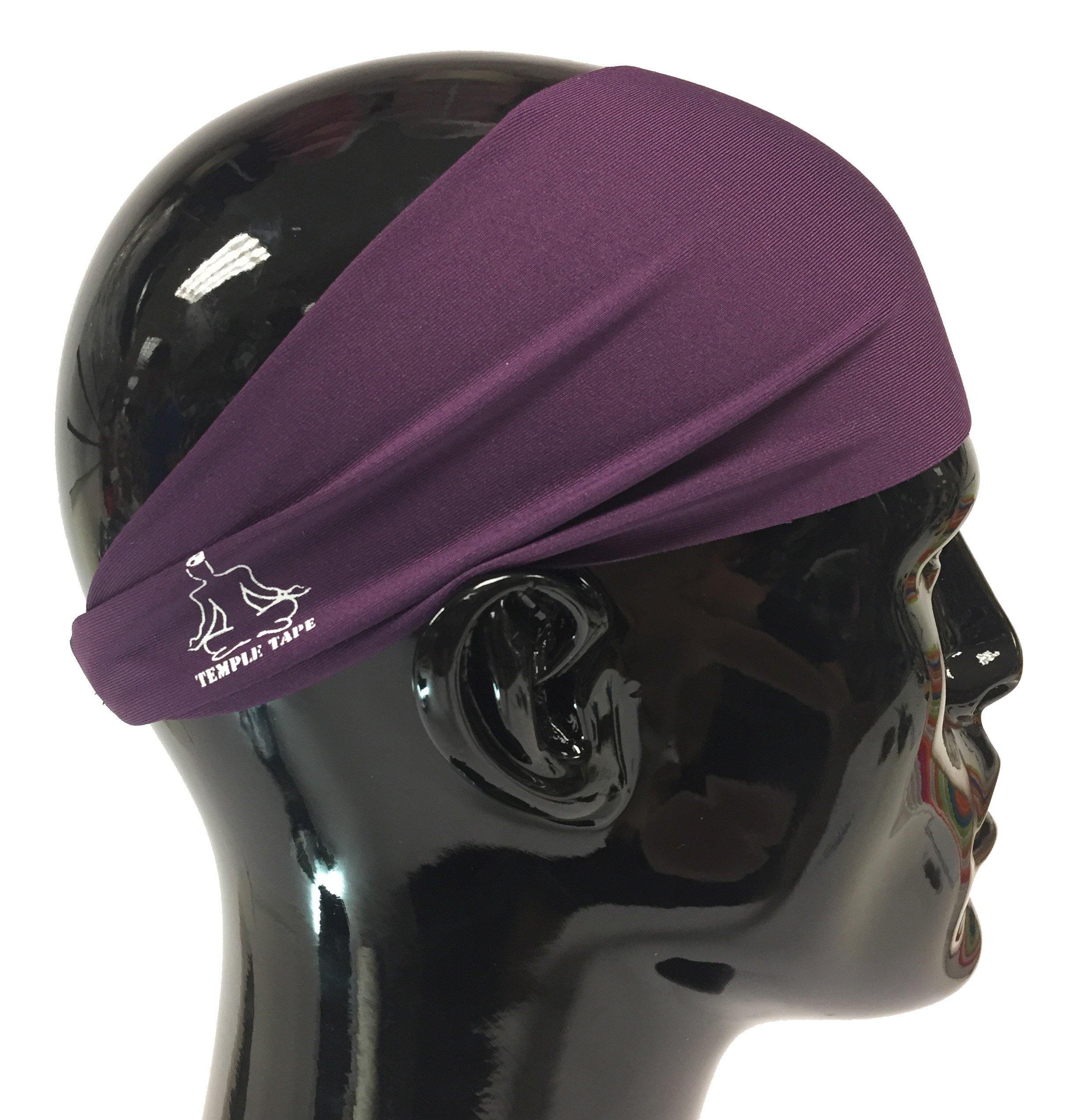 Temple Tape Headbands for Men and Women - Mens Sweatband & Sports Headband Moisture Wicking Workout Sweatbands for Running, Cross Training, Yoga and Bike Helmet Friendly - Deep Purple