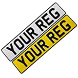 Set of Pressed Metal Car Number / Registration Plates,Road Legal Reflective Pressed Embossed Aluminium with Black 3D Font