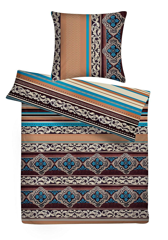 Carpe Sonno kuschelige Biberbettwäsche 200 x 200 cm orientalisch Mehrfarbig bunt - Winterbettwäsche aus 100% Baumwolle Flanell - Bettwäsche Set 3-TLG mit 2 Kopfkissen-Bezügen