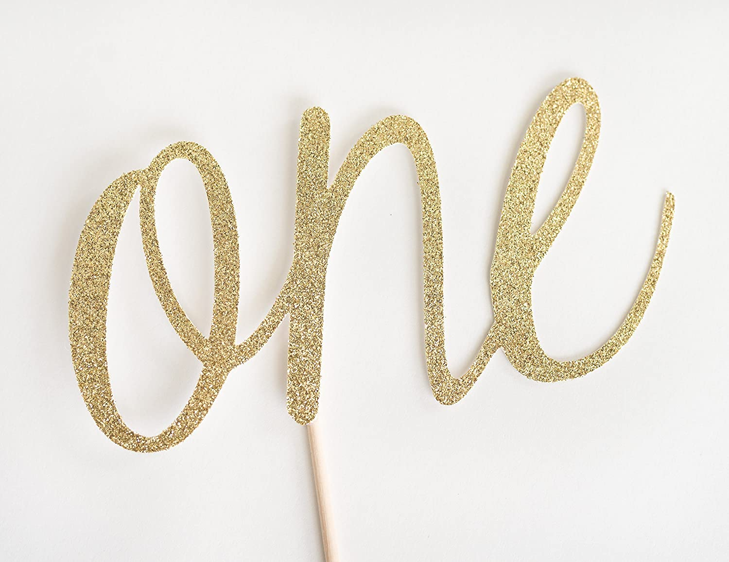 Gold Glitter One Cake Topper, Script First Birthday, 1st, Cake Smash, Party, Gold Glitter, Calligraphy, Cursive, I am one
