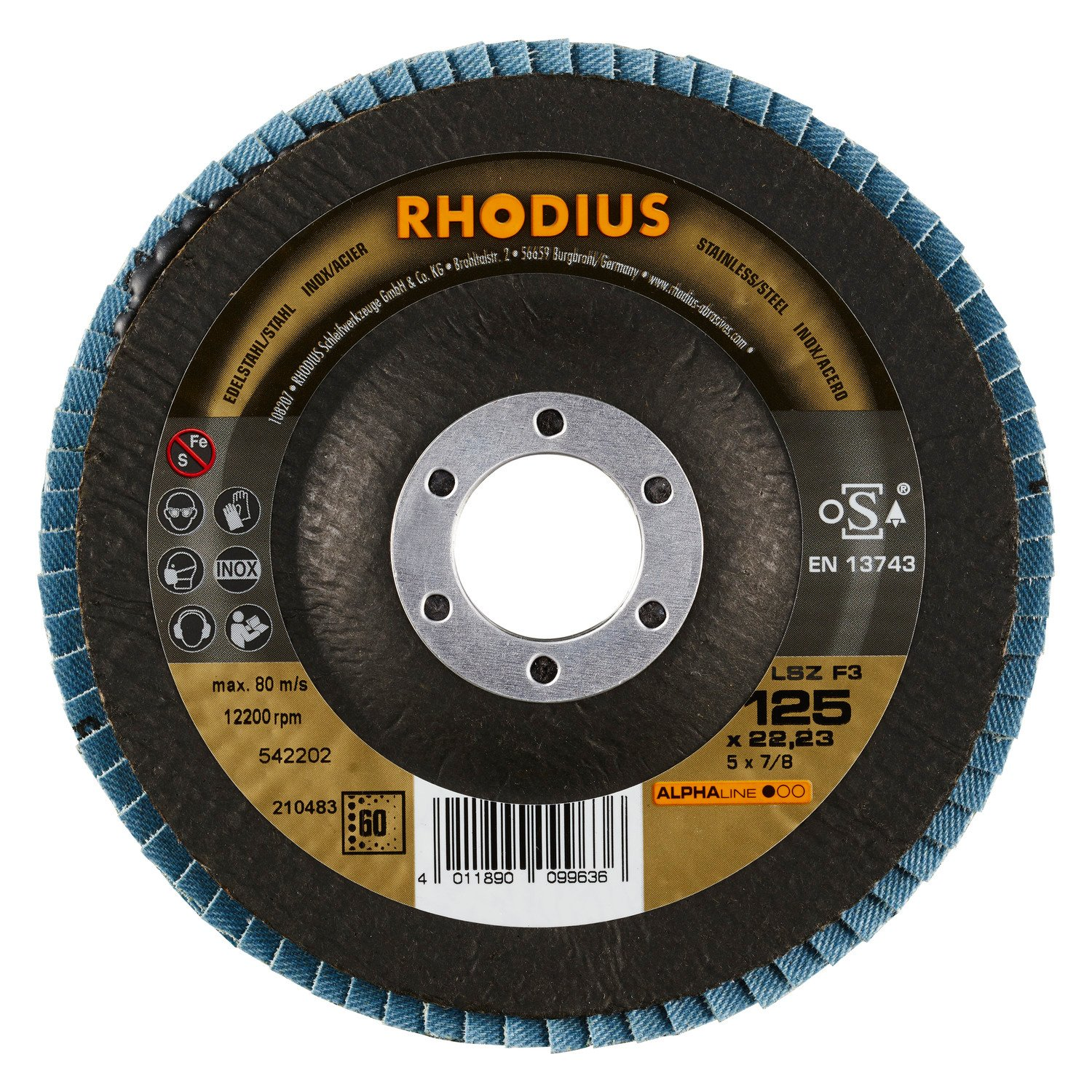 Rhodius 5 Pack of 23 mm Flap Grinding disc, LSZ F3 125 x 22.23 mm K60 for Angle Grinder, Flap Grinder, mop Wheel, Abrasive mop disc, 240 V, 200 W RHODIUS Schleifwerkzeuge GmbH & Co. KG