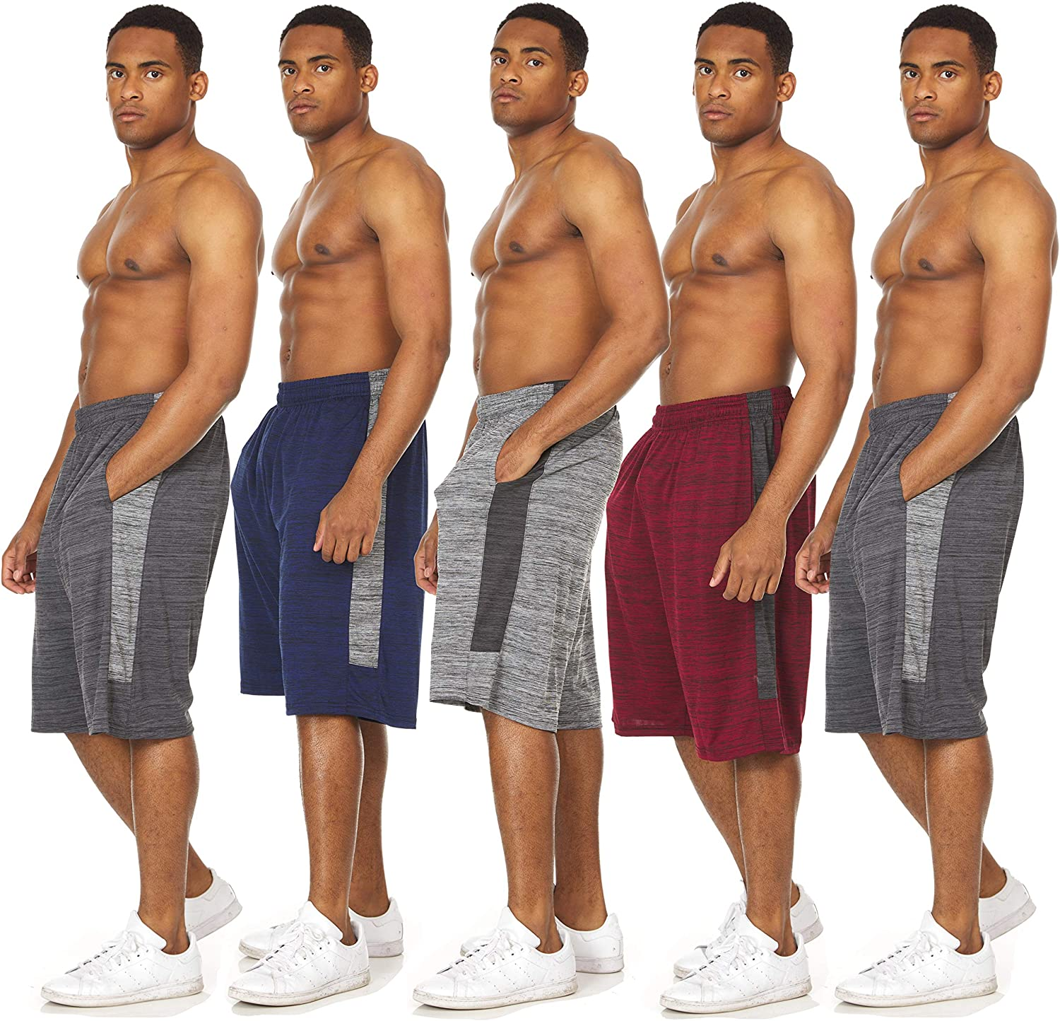 Essential Elements 5 Pack Mens Active Performance Athletic Basketball Gym Workout Gym Cationic Shorts with Pockets
