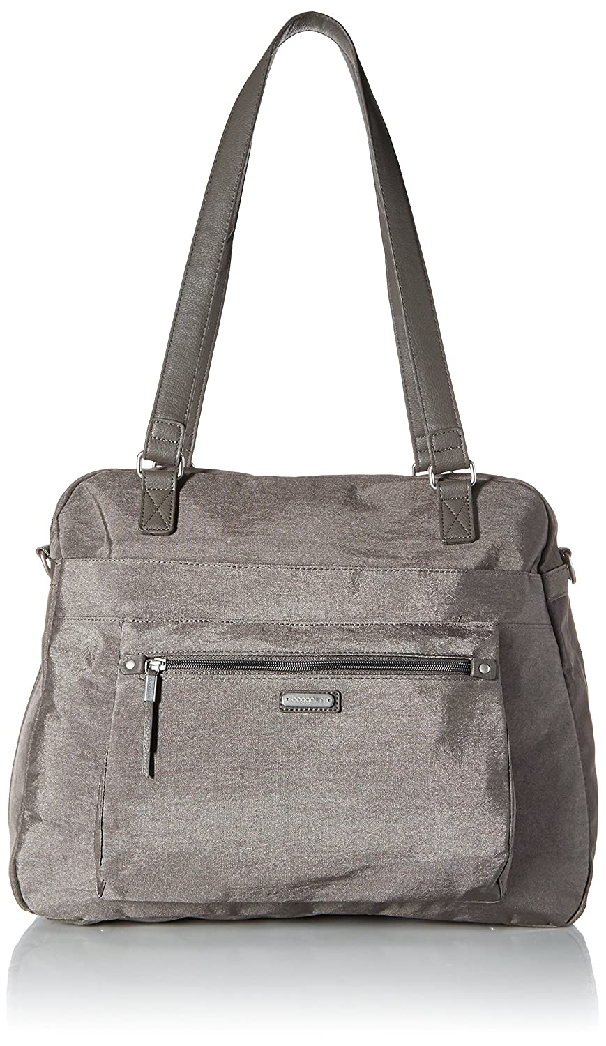 Baggallini Overnight Expandable Laptop Tote with RFID Phone Wristlet Sterling Shimmer