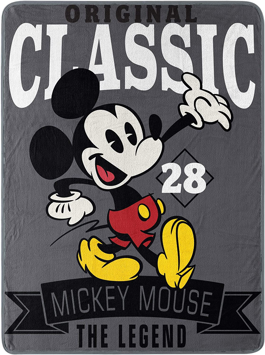 """Disney's Mickey Mouse, """"A Classic"""" Micro Raschel Throw Blanket, 46"""" x 60"""", Multi Color"""