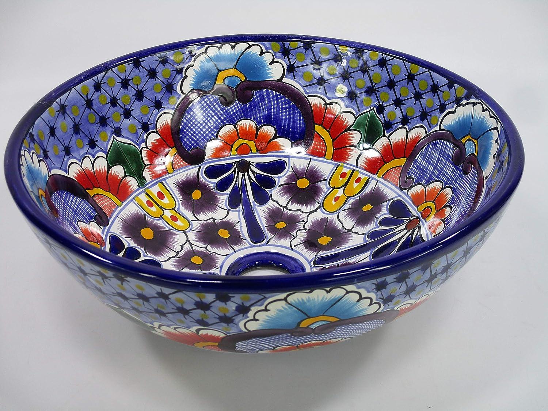 15 round TALAVERA VESSEL SINK Mexican handmade ceramic bathroom basin folk art