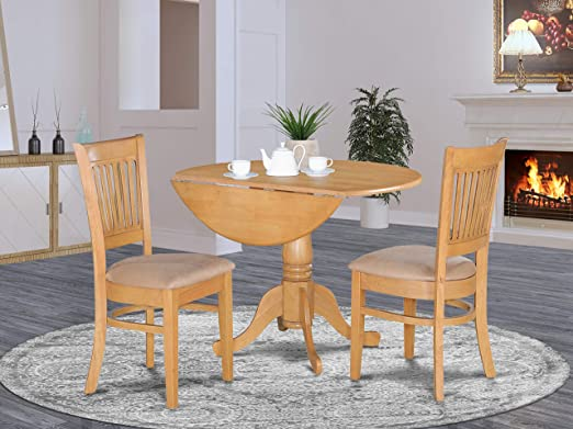 DLVA3-OAK-C 3 Pc Kitchen nook Dining set-Kitchen Table and 2 slat back  Chairs