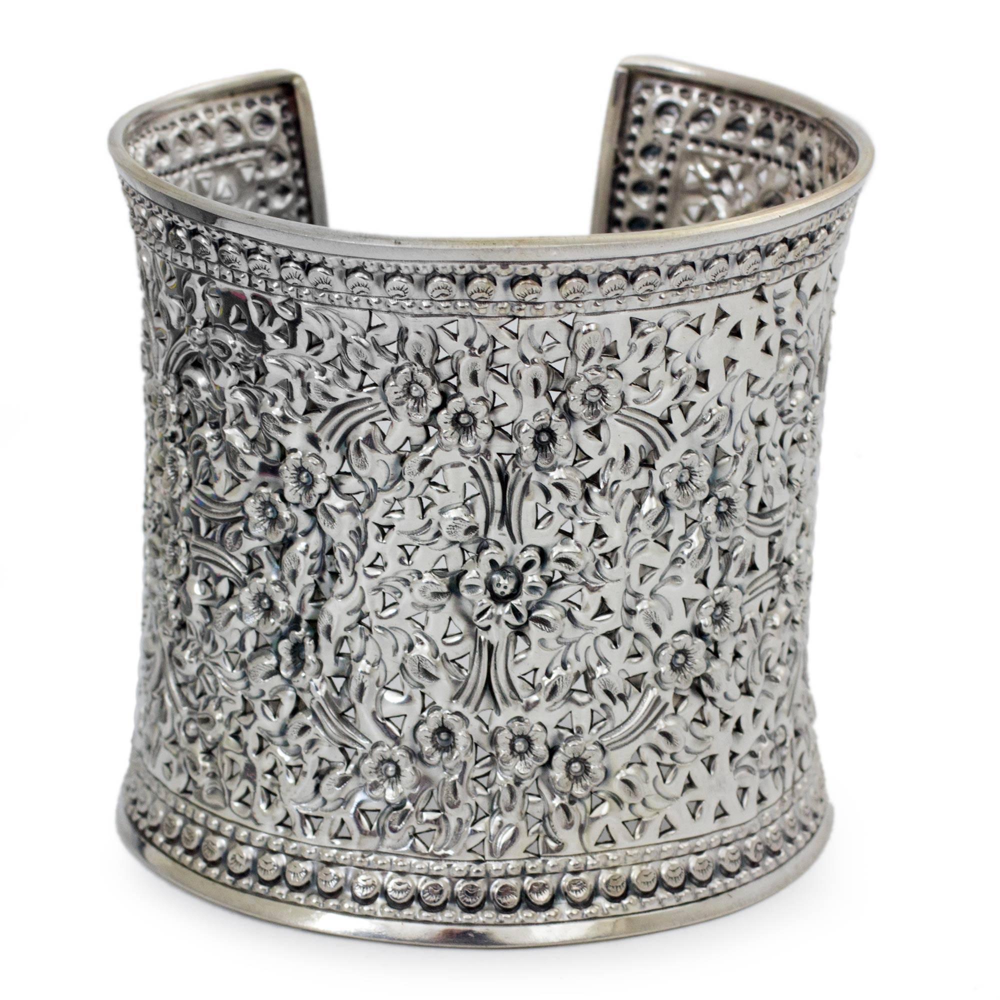 NOVICA .925 Sterling Silver Cuff Bracelet, 6.25'', 'Dazzling Jasmine'