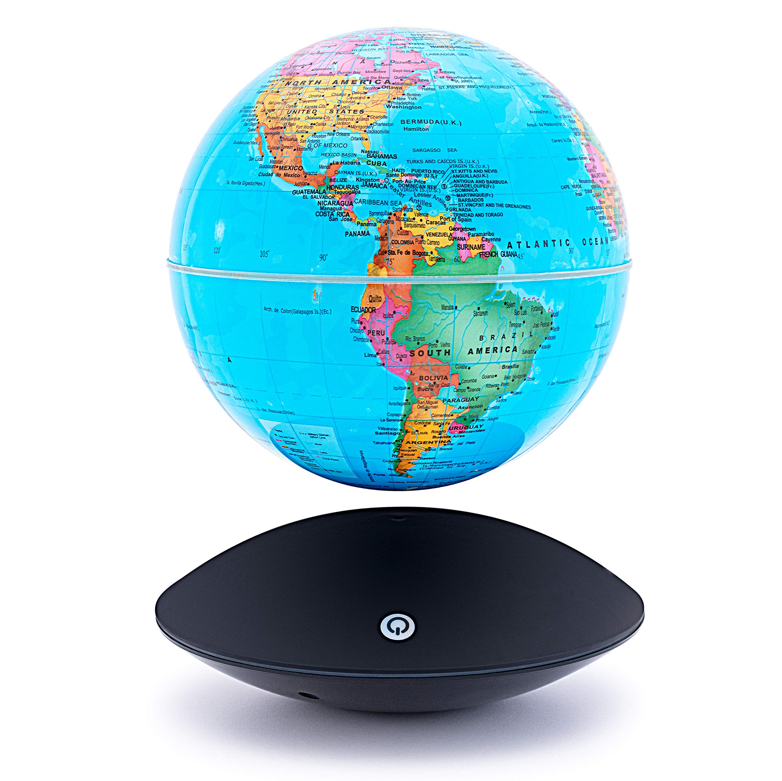 6 inch Magnetic Floating Levitation World Map Globe Auto-Rotation Changing LED Induction Light in Globe for Children Educational Corporate Gift Home Office Desk Decoration Floating Globe by Aona