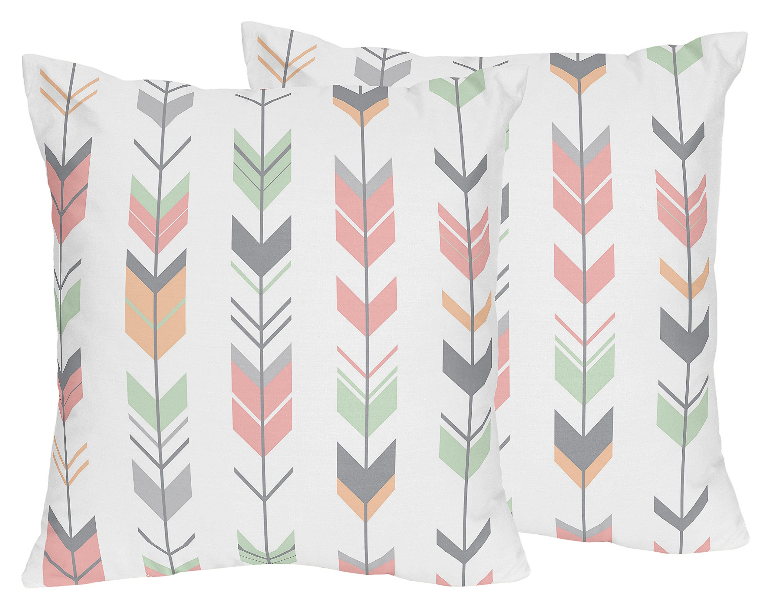 Sweet JoJo Designs 2-Piece Coral and Mint Arrow Print Decorative Accent Throw Pillows for Woodland Arrow Collection