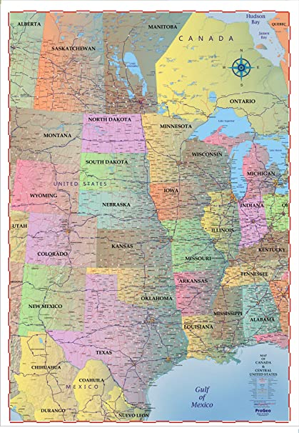 Amazon.com : ProGeo Maps Trucker\'s Wall Map of CENTRAL United States ...
