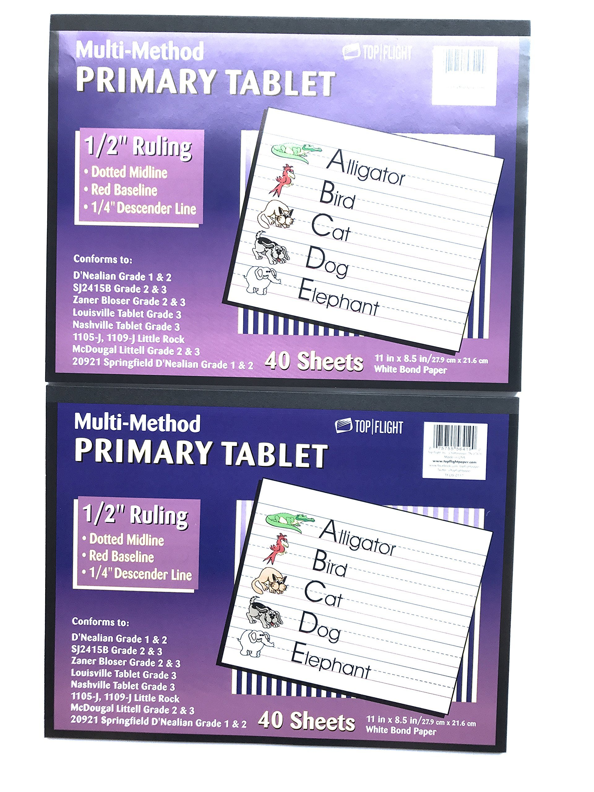 1/2'' Ruling Multi-Method Primary Tablet - Pack of 2