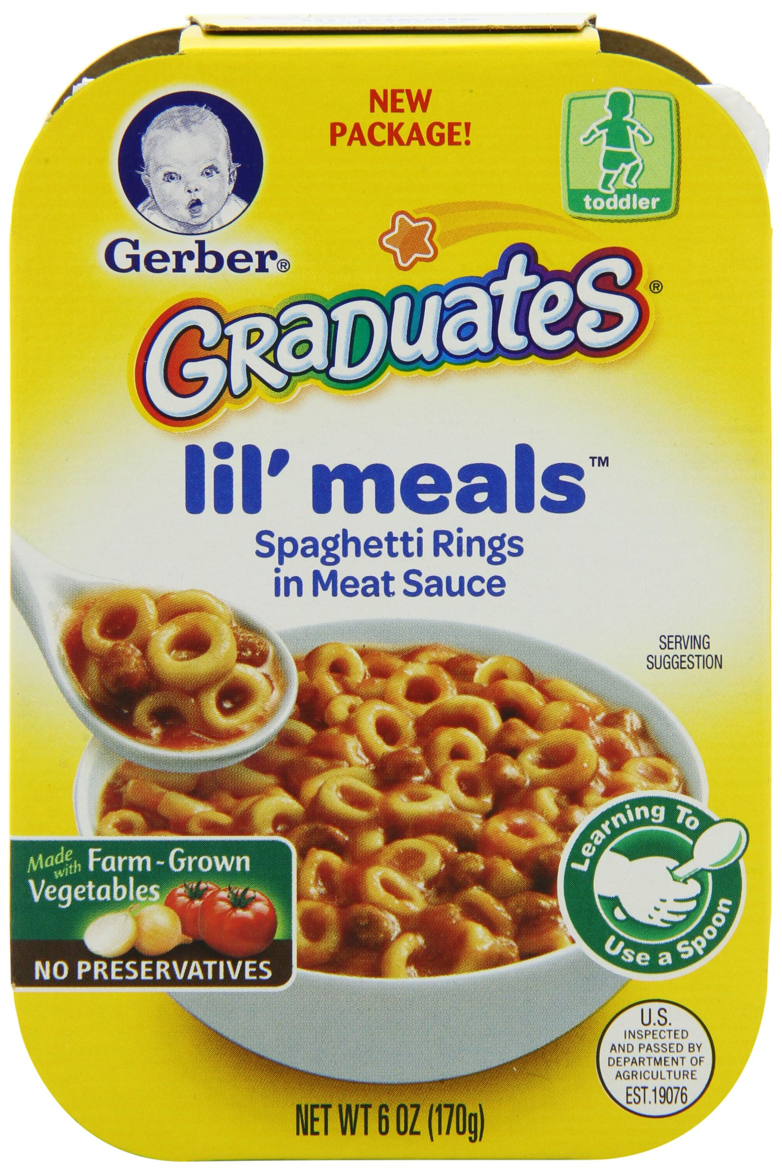 Gerber Graduates Lil' Meals, Spaghetti Rings in Meat Sauce, 6 Ounce (Pack of 6)