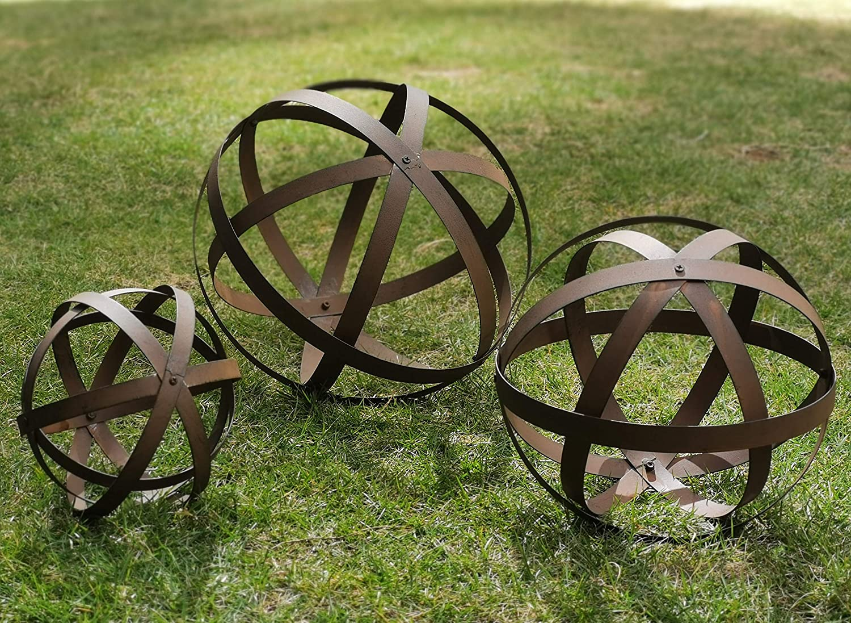 BSTGIFTS Metal Garden Spheres, Metal Band Decorative Spheres, Metal Folding Orb Garden Ball, Sets of 3