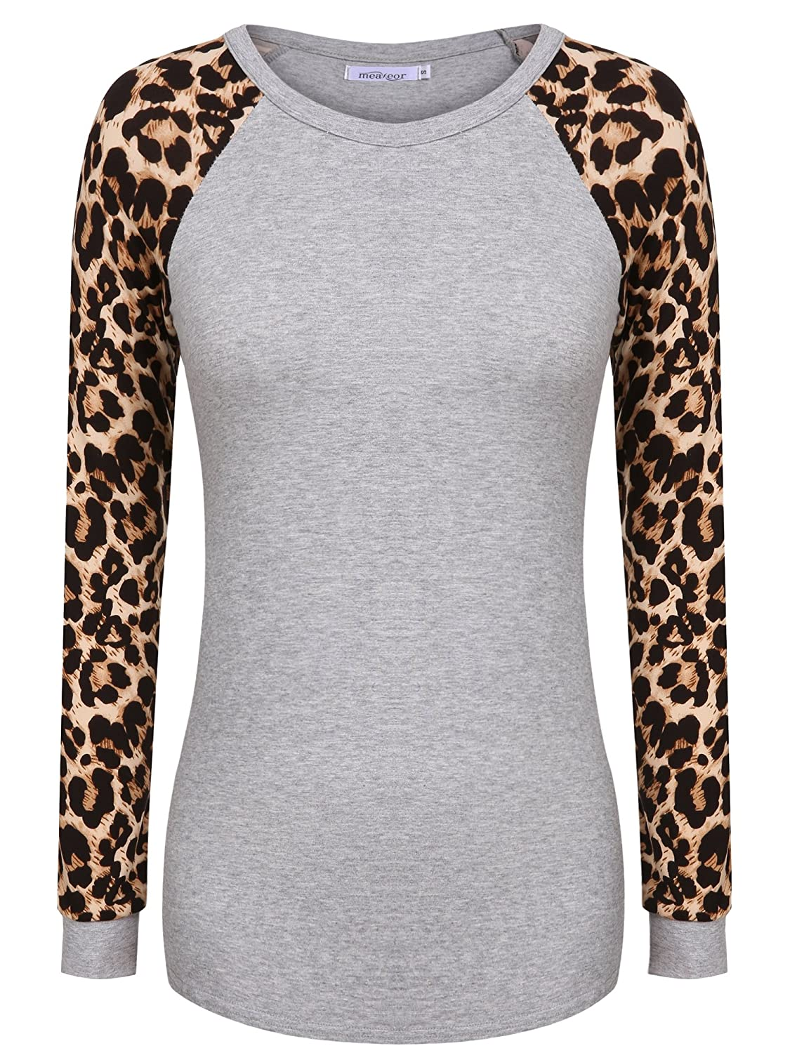 Meaneor Women's Long Sleeve Leopard Print Casual Slim Fit Tunic T shirts Top AM003613#