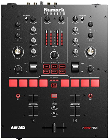 Numark Scratch | Two-Channel Mixer for Serato DJ Pro (Included) with  Innofader Crossfader, DVS License, 6 Direct Access Effect Selectors,  Performance