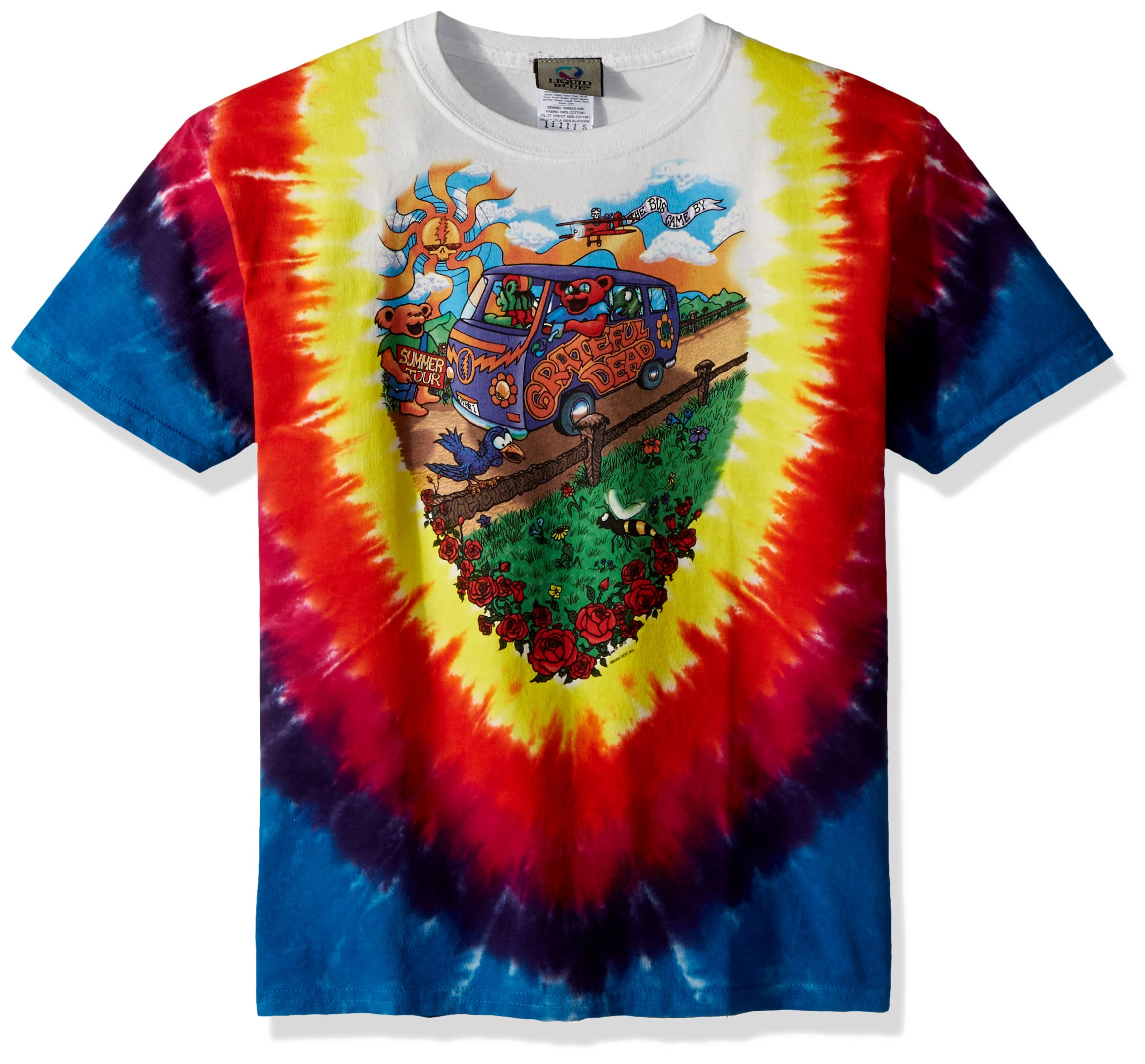Liquid Blue Unisex-Child Big Kids Grateful Dead Summer Tour Bus Short Sleeve T-Shirt, Tie-Dye, Medium