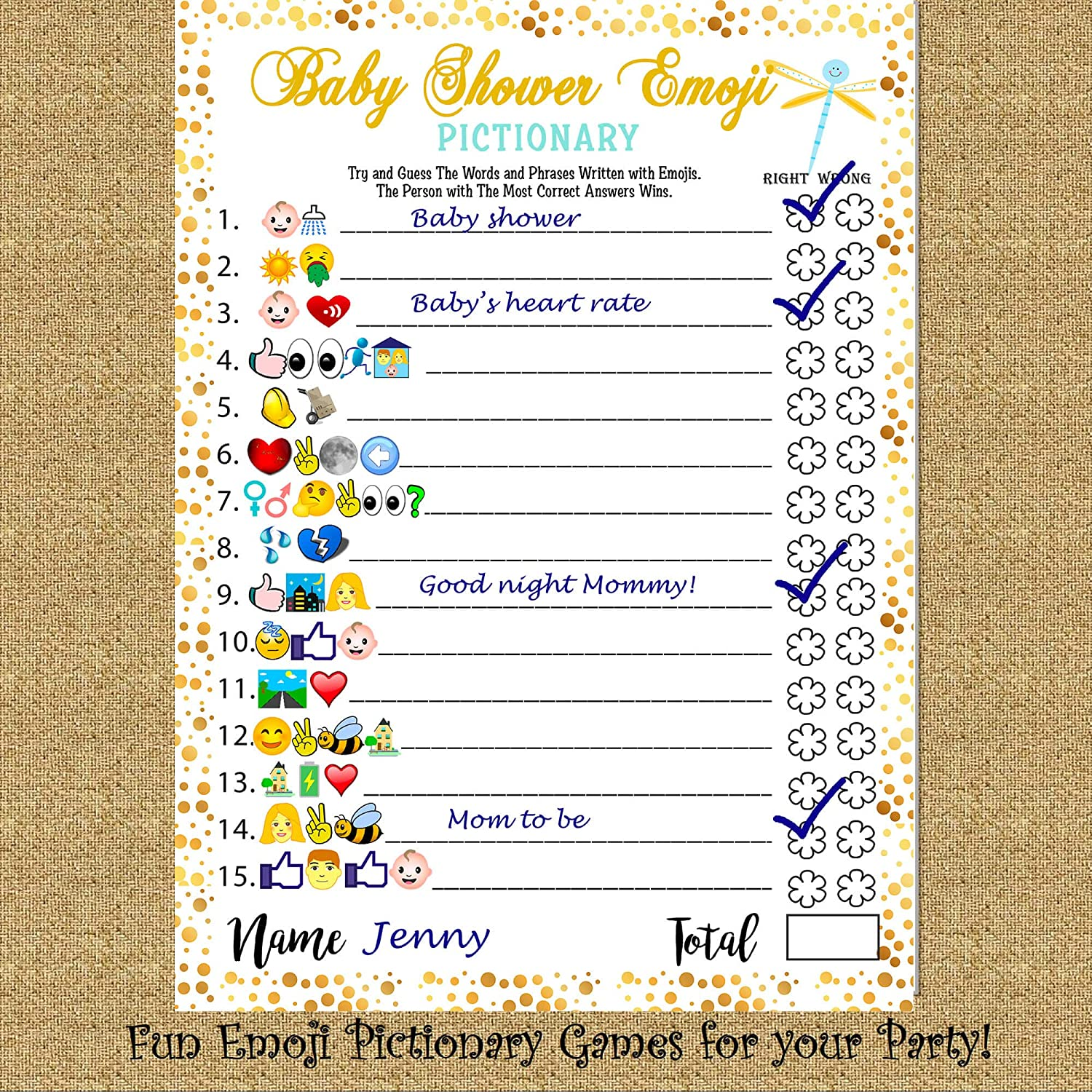 Baby Shower Emoji Pictionary Game Answers - Baby Viewer