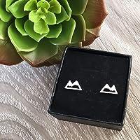 Silver Tone Snowy Mountain Stud Earrings Handmade