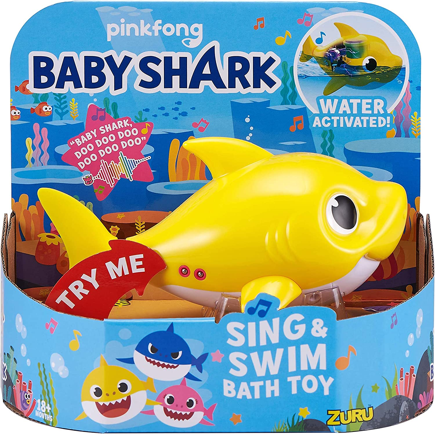 Robo Alive Junior Baby Shark Battery-Powered Sing and Swim Bath Toy by ZURU - Baby Shark (Yellow)
