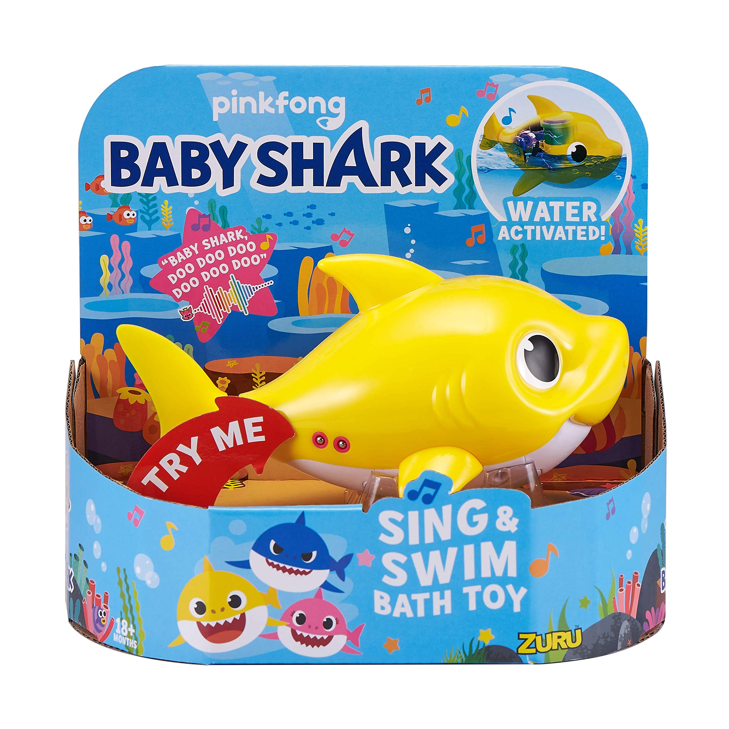 Robo Alive Junior Baby Shark Battery-Powered Sing and Swim Bath Toy by ZURU - Baby Shark (Yellow) by Robo Alive Junior (Image #1)
