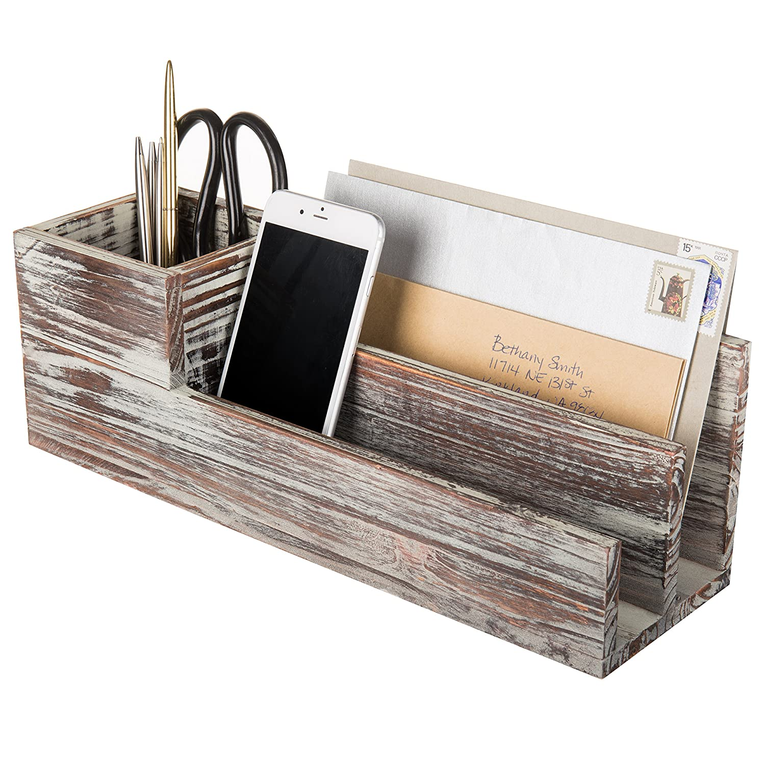 Rustic Torched Wood Desktop Office Supplies Caddy & 2 Slot Letter Mail Sorter Organizer, Brown