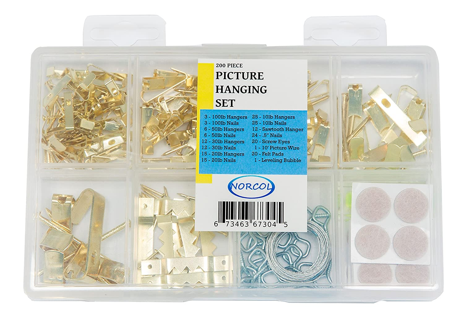 Picture Hanging Set - 200 Piece Assorted Kit with Hooks, Nails ...