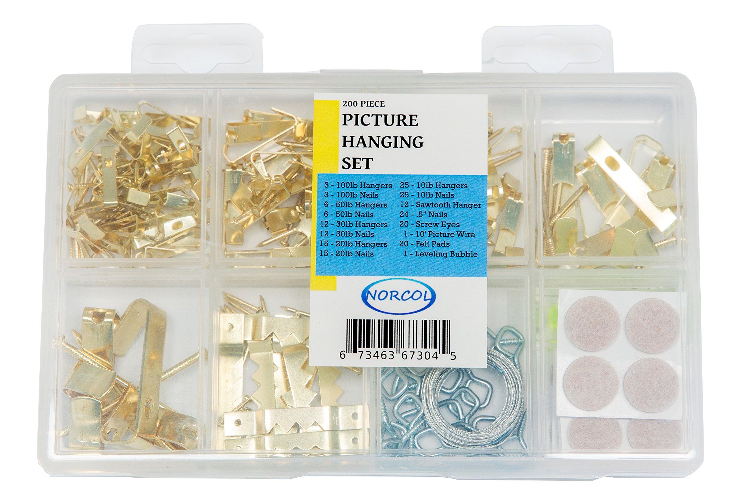 Picture Hanging Set - 200 Piece Assorted Kit with Hooks, Nails, Sawtooth Hangers, Wire, Bubble Level and Protective Felt Pads
