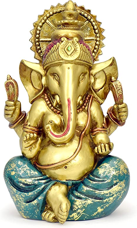 Indian Lord Ganesha Resin Idol Sculpture Statue Size 4.6 Inches