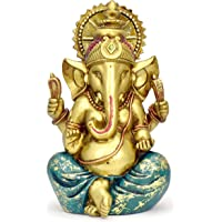 Ganesha Statue Elephant Hindu God of Success Large 9.5-inch-tall Resin Ganesh Idol Hand-Painted in Gold Indian Decor…