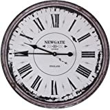 Large Vintage Wall Clock Retro Style Antique Shabby Chic Distressed for Home Decor Lounge or Classical Cafe Bar Art