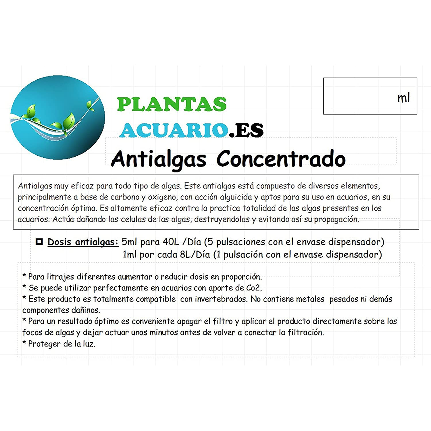 Antialgas Concentrado para Acuario 500ml: Amazon.es: Productos para mascotas