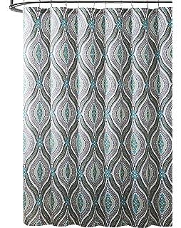 Elegant Blue Brown Neutrals Fabric Shower Curtain Teardrop Paisley Print Design 72 X