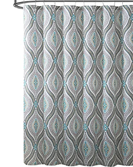 Elegant Blue Brown Neutrals Fabric Shower Curtain Teardrop Paisley Print Design 72quot X