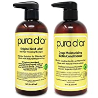 PURA D'OR Biotin Original Gold Label Anti-Thinning (16oz x 2) Shampoo & Conditioner...